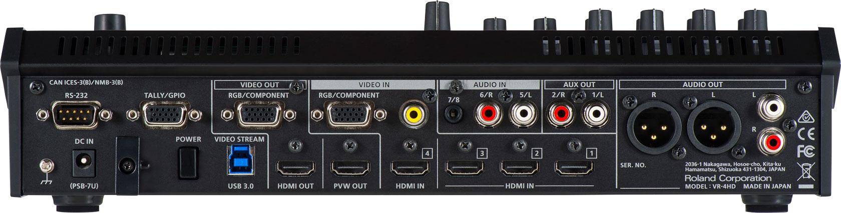 AVミキサー VR-4HD背面端子写真